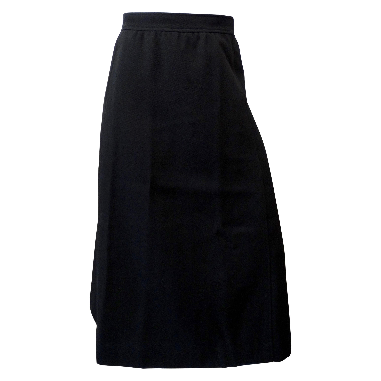 Courréges Paris 1980s Black Wool Skirt