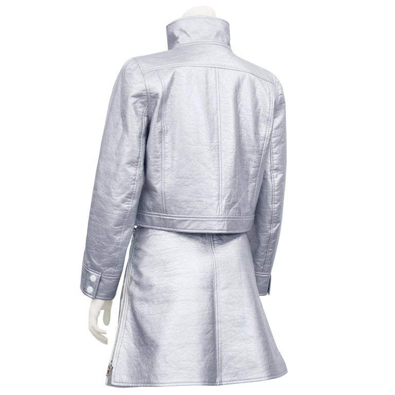 1980's Courreges Silver Jacket and Skirt Ensemble  In Good Condition For Sale In Toronto, Ontario