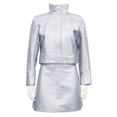 1980's Courreges Silver Jacket and Skirt Ensemble