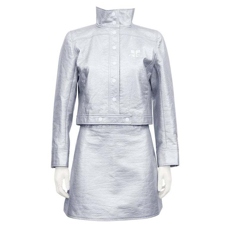 1980's Courreges Silver Jacket and Skirt Ensemble  For Sale