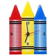 1980s Crayon Wall Clock by Small World Greetings