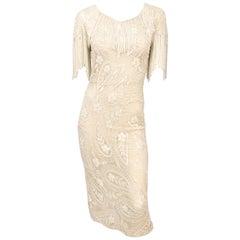 1980s Cream Beaded Dress with Fringe