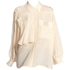 1980S Cream Silk Crepe De Chine Blouse With Beaded Details