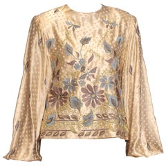 1980S Cream Silk Jacquard Metallic Floral Embroidered Blouse