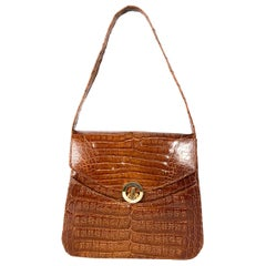 1980s Crocodile Handbag with Convertible Handle