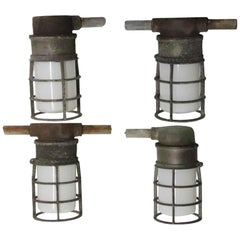 1980s Crouse Hinds Frosted Glass Industrial Ceiling Lights with Steel Cages
