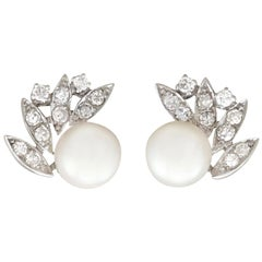 1980s Cultured Pearl and Diamond 18 Karat White Gold Clip-On Earrings