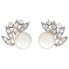 1980s Cultured Pearl and Diamond White Gold Clip-On Earrings