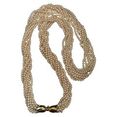 1980s Cultured Pearl Yellow Gold 18 Karat Clasp Sautoir Necklace