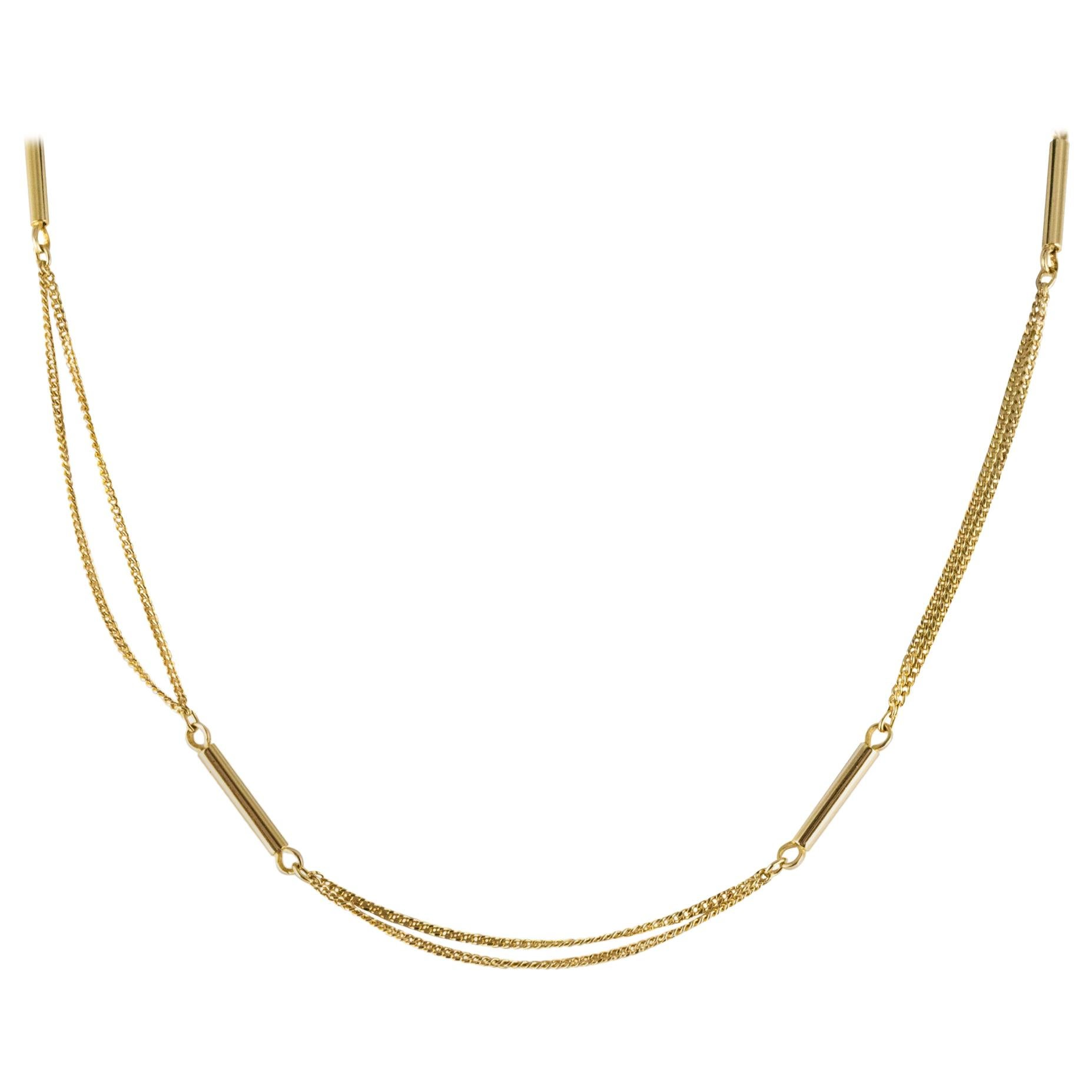 1980s Curb Mesh and Sticks 18 Karat Yellow Gold Double Chain