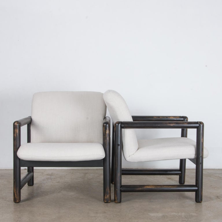 Mid-Century Modern 1980s Czech Upholstered Armchairs, a Pair For Sale