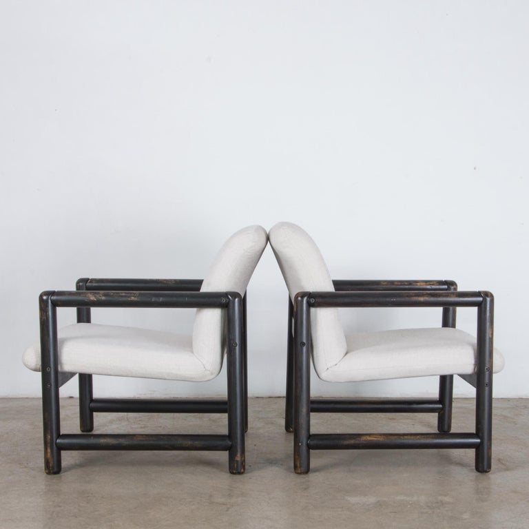 Painted 1980s Czech Upholstered Armchairs, a Pair For Sale
