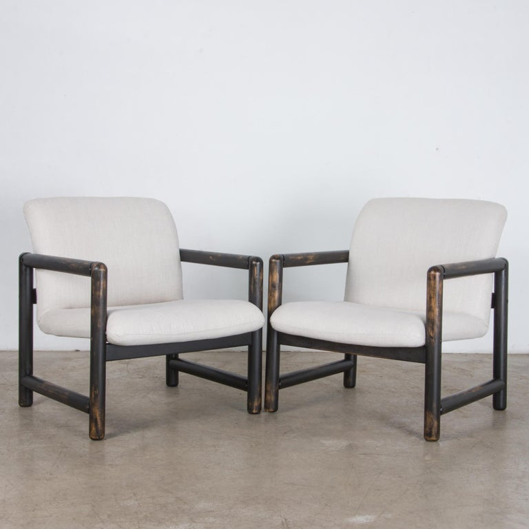 1980s Czech Upholstered Armchairs, a Pair In Good Condition For Sale In High Point, NC
