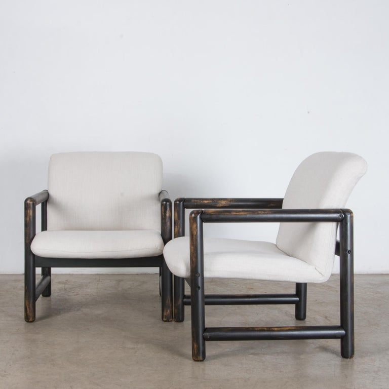 Late 20th Century 1980s Czech Upholstered Armchairs, a Pair For Sale