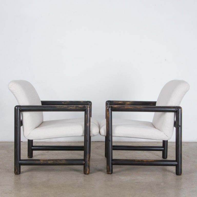 Beech 1980s Czech Upholstered Armchairs, a Pair For Sale