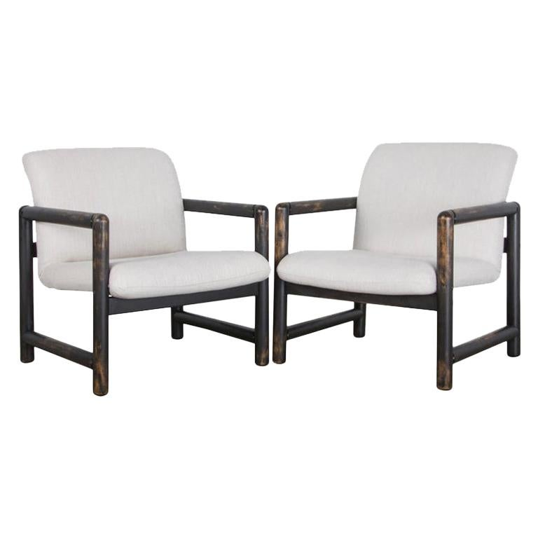 1980s Czech Upholstered Armchairs, a Pair For Sale