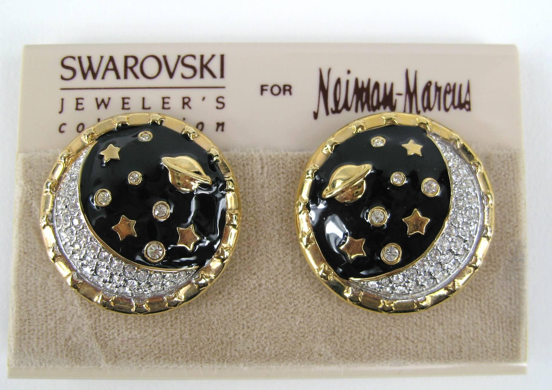 160536bb4 1980s Daniel Swarovski Crystal Encrusted moon clip on earrings New Never  Worn For Sale at 1stdibs