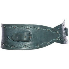 1980'S Dark Green Immaculate Leather Wide Set Belt
