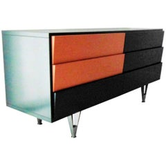 1980s Dark Satin Lacquer Commode Chest of Drawers by Sormani, Italy