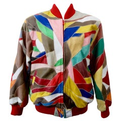 David Green 1980s Leather Appliqué Patchwork Bomber Jacket