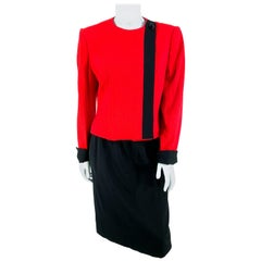 1980s David Hayes Red and Black Asymmetrical Suit