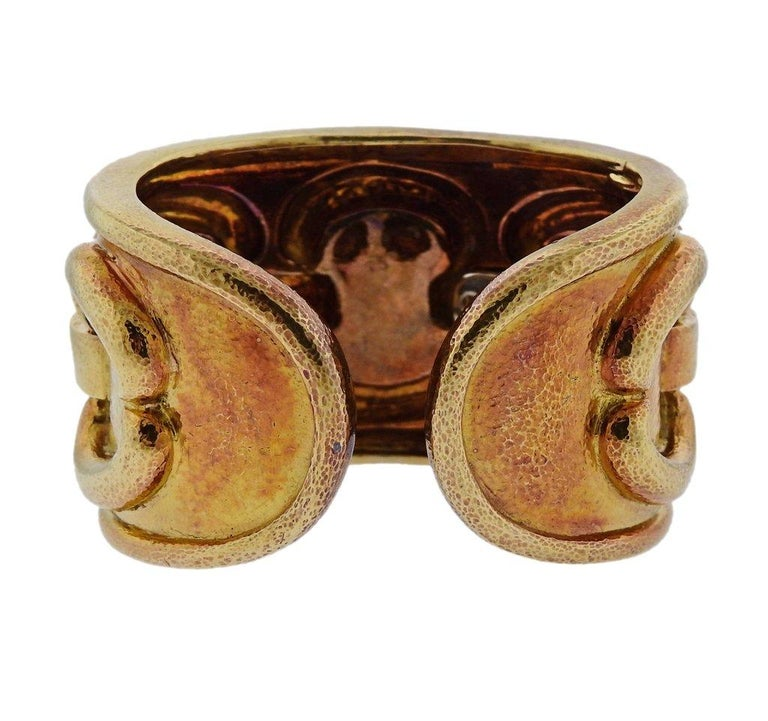 1980s David Webb Ancient World Gold Cuff Bracelet In Good Condition For Sale In Boca Raton, FL