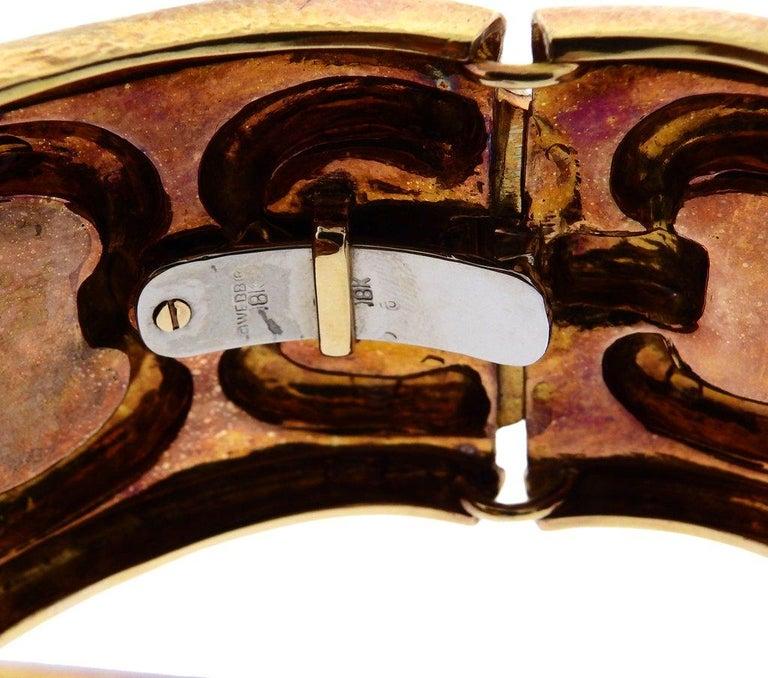 Women's 1980s David Webb Ancient World Gold Cuff Bracelet For Sale