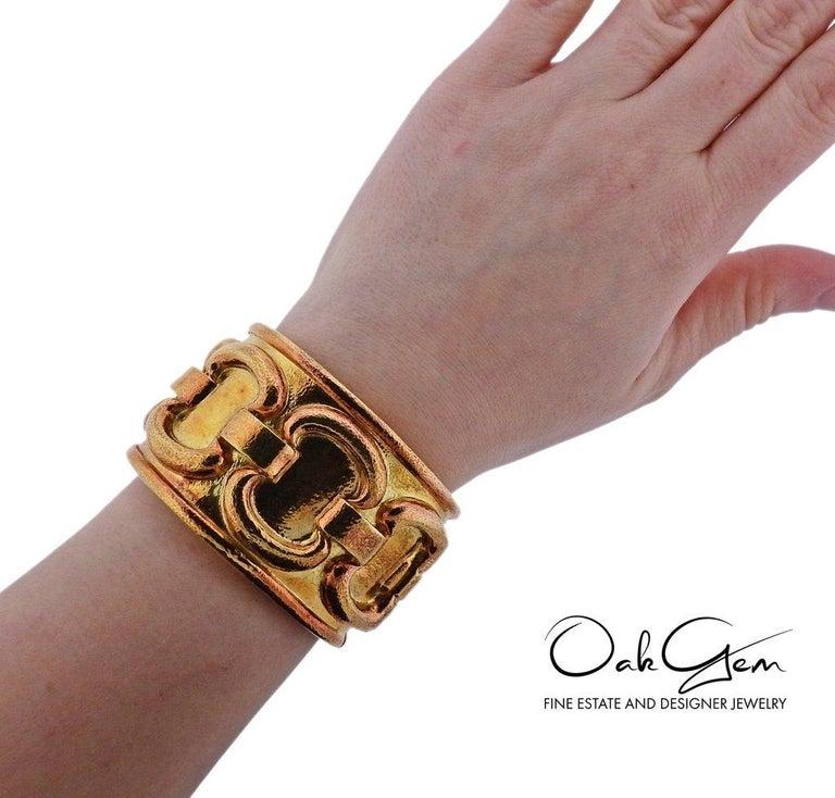 1980s David Webb Ancient World Gold Cuff Bracelet For Sale 1