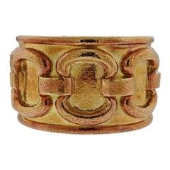 1980s David Webb Ancient World Gold Cuff Bracelet
