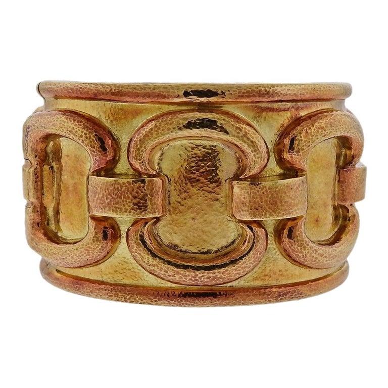 1980s David Webb Ancient World Gold Cuff Bracelet For Sale