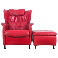 1980s De Sede Crimson Leather Armchair with Ottoman