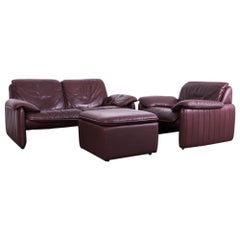 1980s De Sede Maroon Leather Sofa Set
