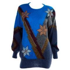 1980s Deadstock Escada Margaretha Ley Star Snowflake Mohair Wool Sweater w Tag
