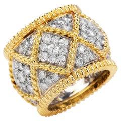 1980's Designer Diamond 18K Gold Elegant Wide Eternity Band Ring