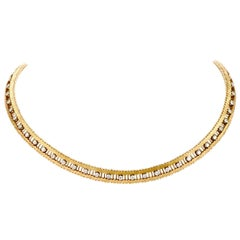 1980s Diamond 18 Karat Gold Serpentine Link Choker Necklace