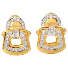 1980s Diamond 18 Karat Yellow and White Gold Door Knocker Earrings