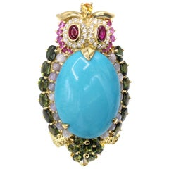 1980s Diamond and Gemstone 18 Karat Owl Brooch