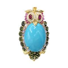 1980s Diamond and Gemstone 18 Karat Owl Brooch