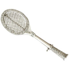 1980s Diamond and White Gold Badminton Racket Brooch