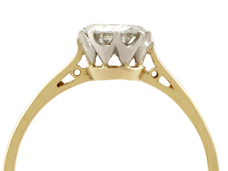 1980s Diamond and Yellow Gold White Gold Set Solitaire Ring  In Excellent Condition For Sale In Jesmond, Newcastle Upon Tyne
