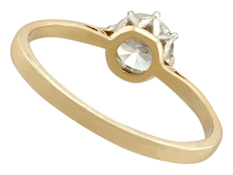 Women's 1980s Diamond and Yellow Gold White Gold Set Solitaire Ring  For Sale