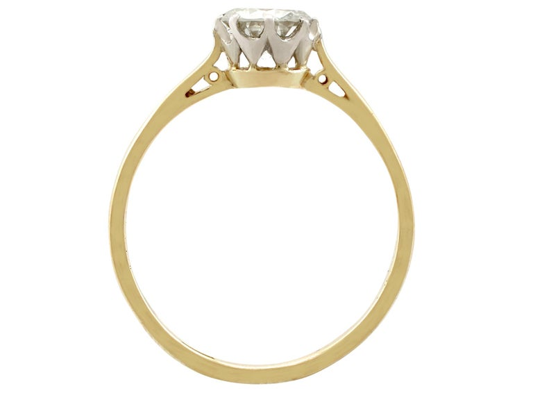 1980s Diamond and Yellow Gold White Gold Set Solitaire Ring  For Sale 1