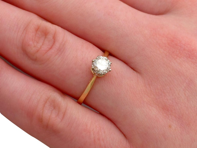 1980s Diamond and Yellow Gold White Gold Set Solitaire Ring  For Sale 3