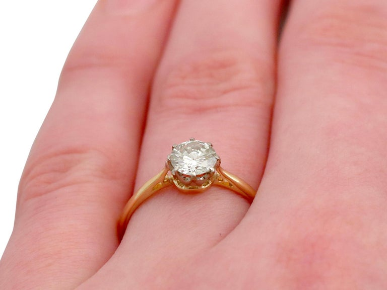 1980s Diamond and Yellow Gold White Gold Set Solitaire Ring  For Sale 4