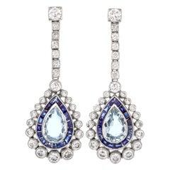1980s Diamond Aquamarine and Sapphire Platinum Earrings