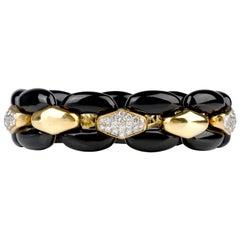 1980s Diamond Black Onyx Panther Link 18 Karat Bracelet