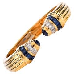 1980s Diamond Blue Sapphire 18 Karat Gold 1980s Cuff Bangle Bracelet