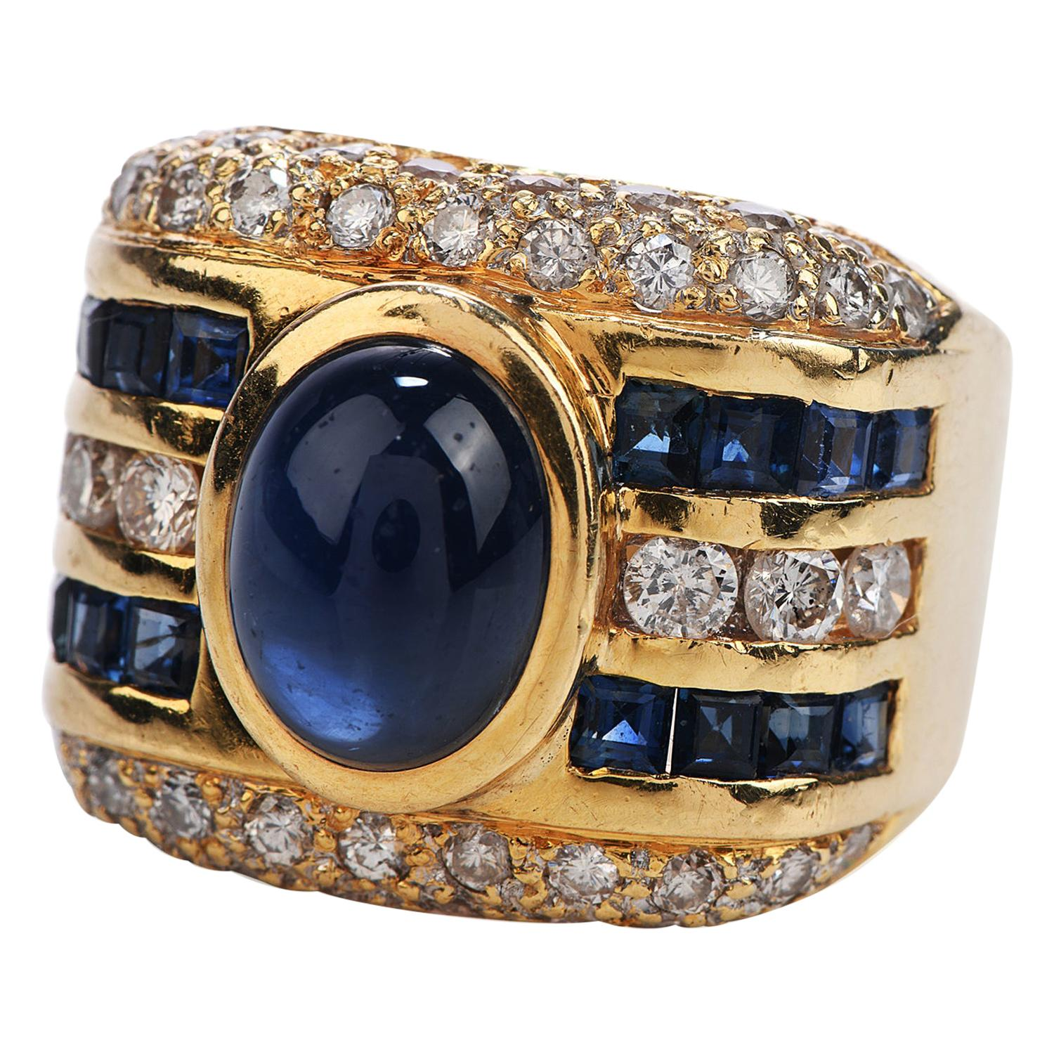 1980s Diamond Cabochon Sapphire 18 Karat Gold Wide Band Ring
