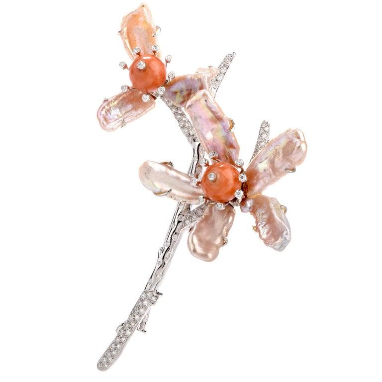 Modern 1980s Diamond Coral Pearl 18 Karat Large Floral Motif Brooch Pin For Sale