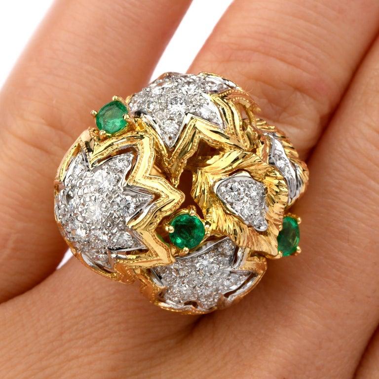 Women's 1980s Diamond Emerald 18 Karat Gold Large Star Cocktail Bombe Ring For Sale